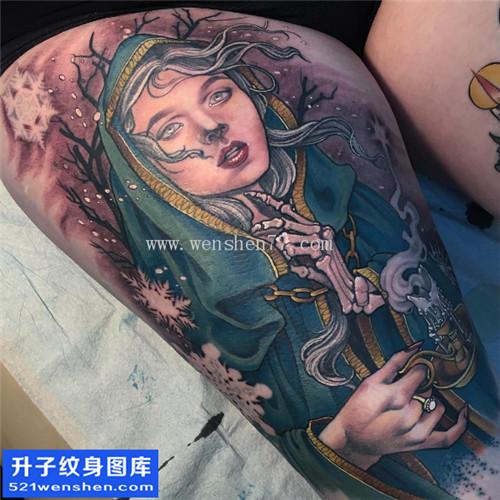 美女大腿肖像人物纹身图片大全