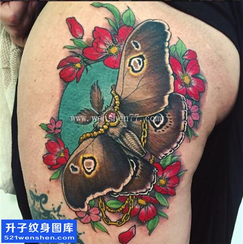 性感大腿植物与蝴蝶纹身图片大全