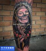 小腿肖像骷髅死神纹身图案大全