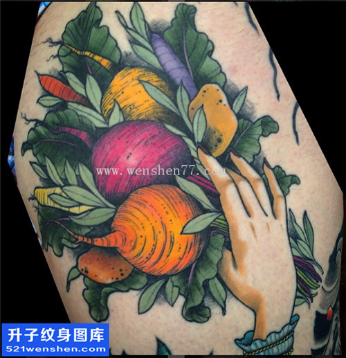 大腿根部植物萝卜纹身图片大全