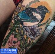 女性大腿动物鸟纹身图片大全 重庆纹身店