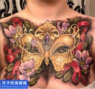 女性性感前胸大v面具纹身图片大全