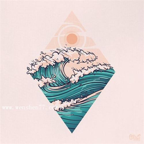 小清新彩色水浪花纹身手稿图案