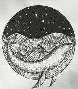 小清新海豚纹身手稿图案