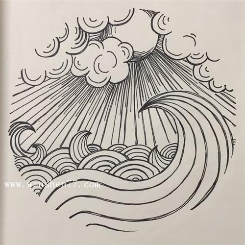 浪花纹身手稿图片