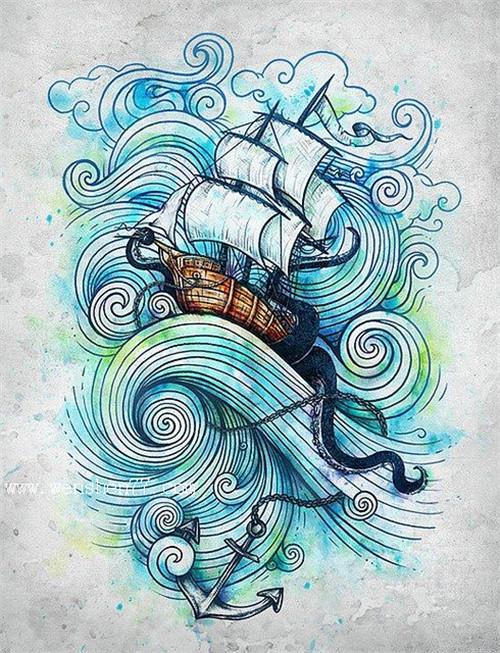 彩色船帆纹身手稿图案
