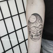 手臂小清新点刺风景纹身图案