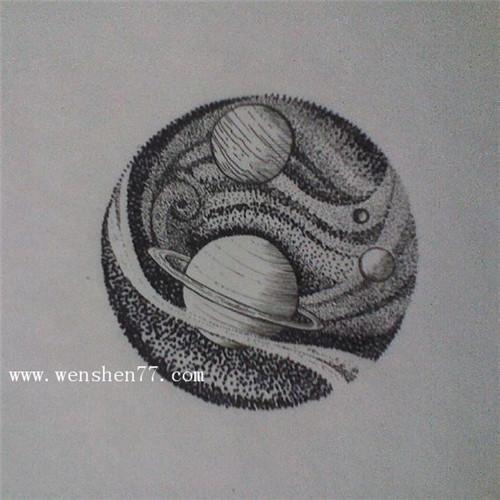 小清新星球纹身手稿图案