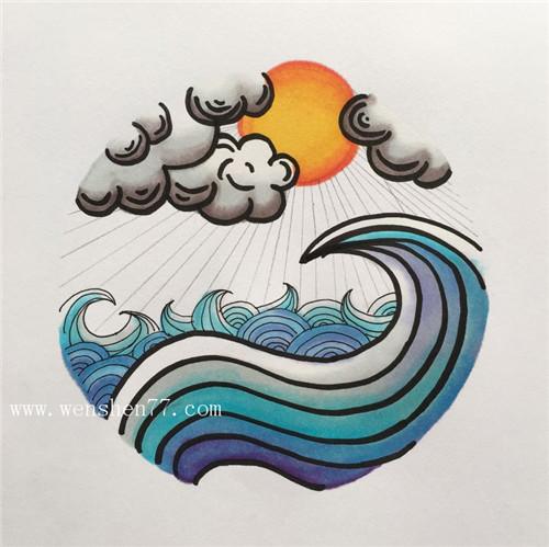 小清新纹身手稿浪花云朵