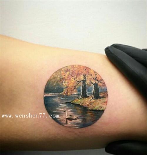手臂彩色小清新花草树木纹身图案