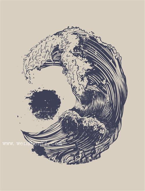 水浪纹身手稿图案
