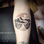 手臂内侧风景小清新纹身图案