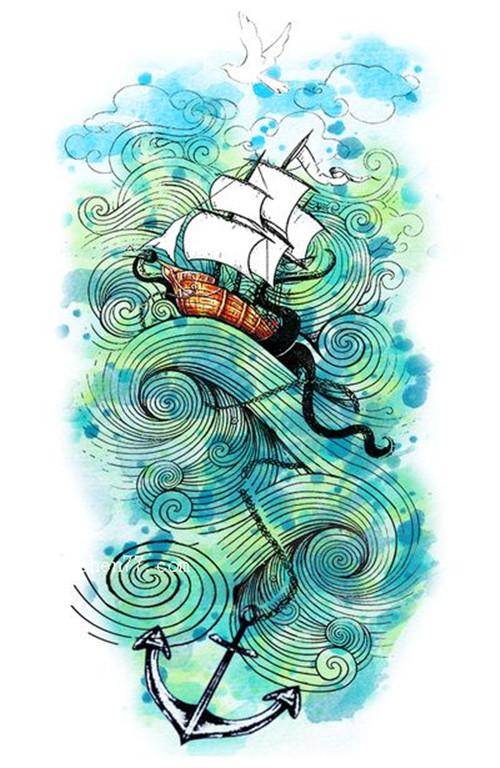 彩色船帆船锚纹身手稿