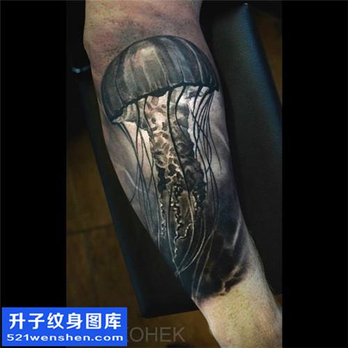 手臂黑灰写实水母纹身图案