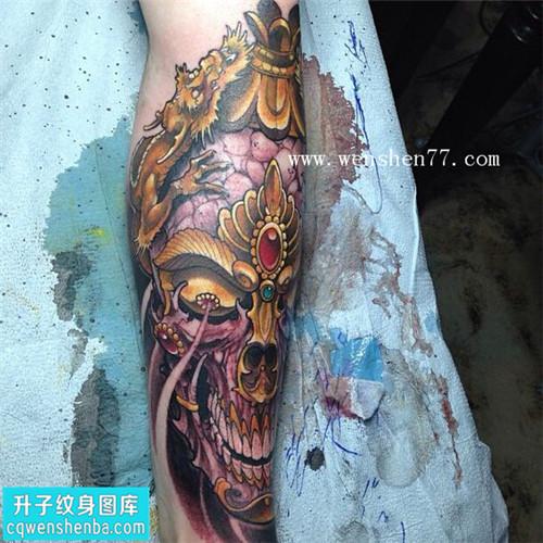 小腿外侧嘎巴拉纹身图案