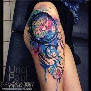 性感大腿彩色泼墨捕梦网纹身图案