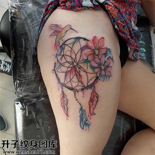 大腿捕梦网纹身图案大全