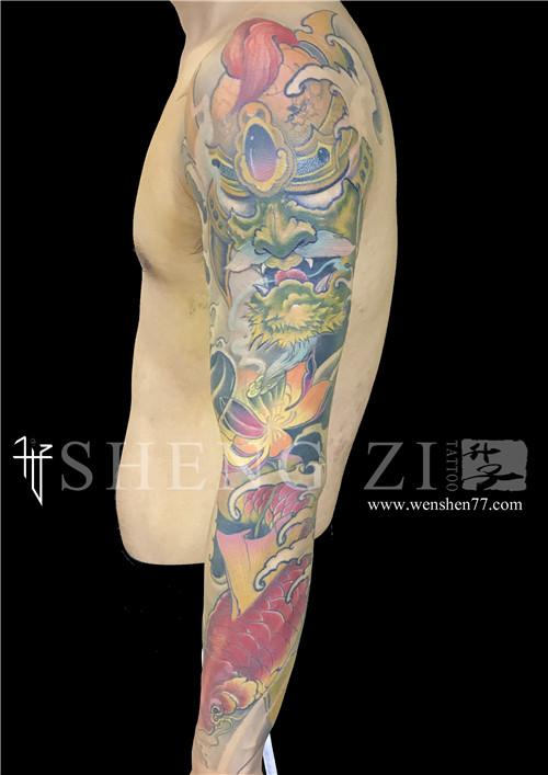 新传统花臂纹身武士鲤鱼荷花纹身图案