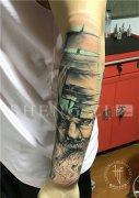 欧美写实花臂纹身船帆灯塔纹身图案