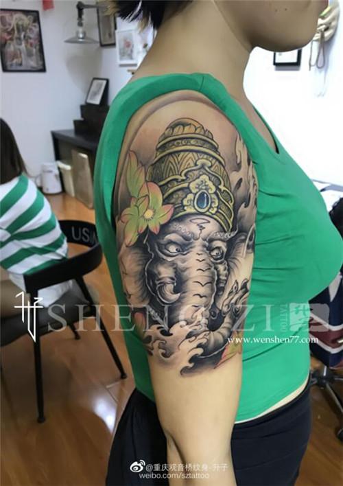大臂象神纹身图案大全