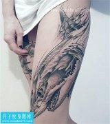 漂亮的大腿鲨鱼纹身图案