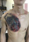 男性胸口遮盖失败纹身麒麟纹身图案