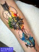 <b>小腿彩色泼墨指南针船锚纹身图案</b>