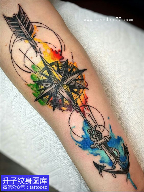 小腿彩色泼墨指南针船锚纹身图案