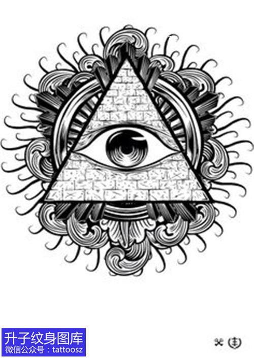 黑灰上帝之眼纹身手稿图案