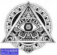 欧美黑灰玛雅图腾上帝之眼纹身图案