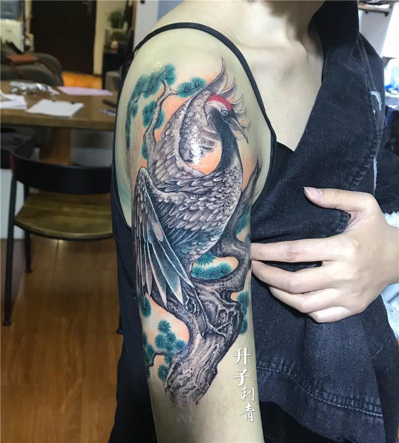 手臂遮盖失败纹身仙鹤纹身图案