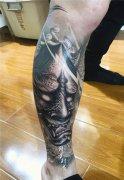 花腿纹身 传统般若菊花纹身图案