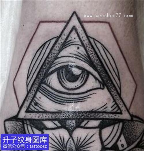 腿部黑灰点刺上帝之眼纹身图案