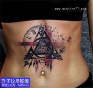 女性腹部上帝之眼钟表纹身图案
