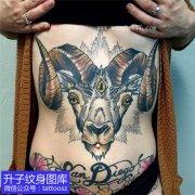 女性前胸彩色腹部彩色羊头纹身 白羊座纹身