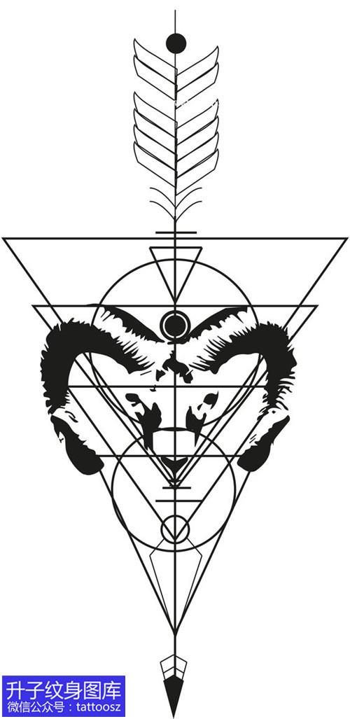 几何形与羊头纹身手稿图案