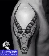 男性大臂外侧羊头纹身图案
