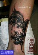 小腿脚踝外侧羊头纹身图案
