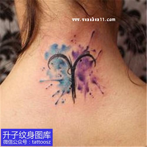 女性后脖子白羊座纹身图案