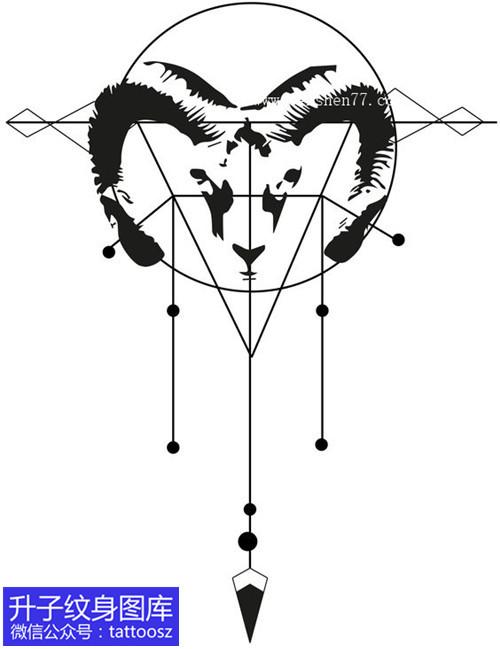 羊头与几何吊坠纹身手稿图案