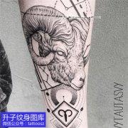 手臂内侧欧美点刺羊头纹身图案