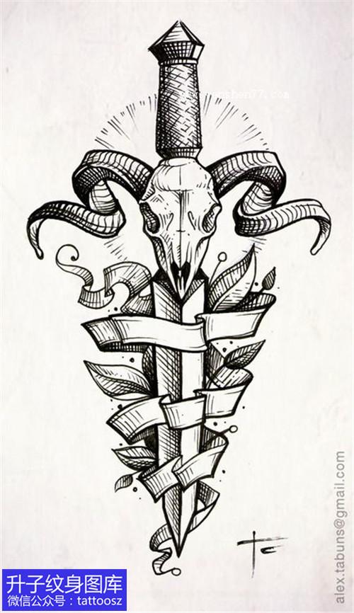 匕首丝带纹身手稿图案