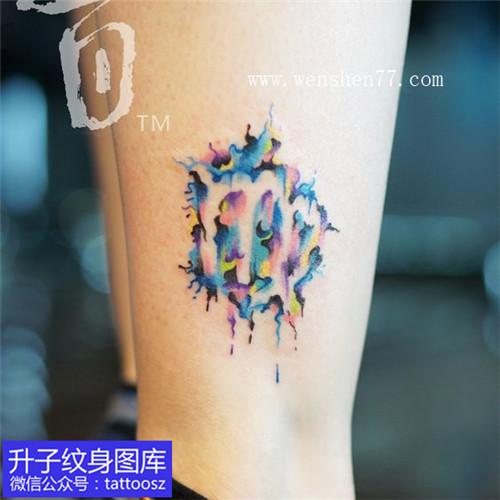 脚踝彩色处女座标志纹身图案