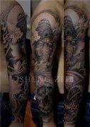 花臂纹身新传统象神骷髅纹身图案