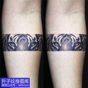 手臂黑灰臂环欧美老虎纹身图案