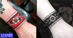 一对彩色黑色臂环纹身图案推荐