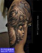 大图外侧欧美写实美女老虎纹身图案