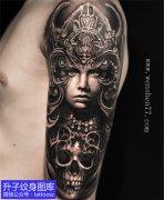 大臂外侧欧美写实人物骷髅纹身图案