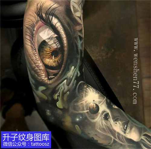 欧美彩色写实花臂纹身图案