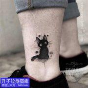 脚踝小清新抽象猫咪纹身图案